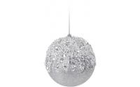 [Stříbrná vánoční koule s kamínky 7,5cm]