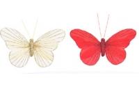 [Sada 3 ks dekoračních motýlů na skřipci - různé barvy]