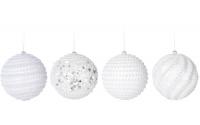 [Bílá vánoční koule s kamínky 8 cm - různé druhy]