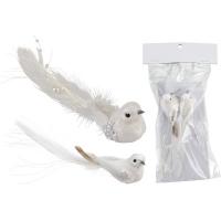 [Bílý ptáček na skřipci - sada 2 ks]