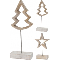 [Dřevěná vánoční dekorace na podstavci - 2 typy]