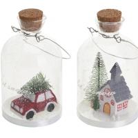[Skleněná láhev s vánoční dekorací uvnitř]