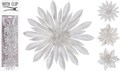Bílá vánoční dekorace na škřipci - sada 4 ks