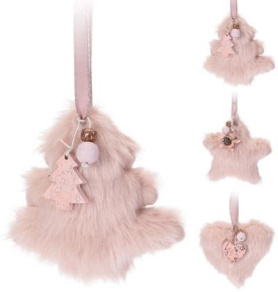 Baby růžová plyšová vánoční dekorace - 3 druhy