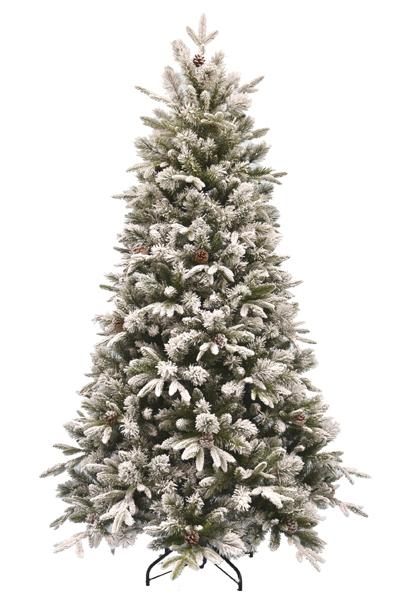 Vánoční stromek EMERALD ROSEMARY se šiškami - zasněžený z měkkého 3D jehličí