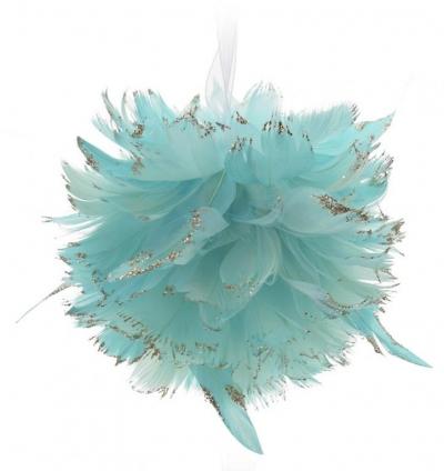 Andělská vánoční koule modravá MICHAEL